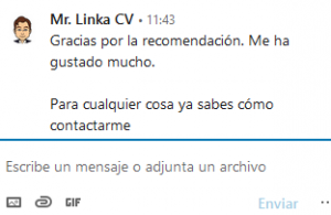 mensaje de agradecimiento de Linkedin