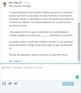 solicitar recomendacion por linkedin