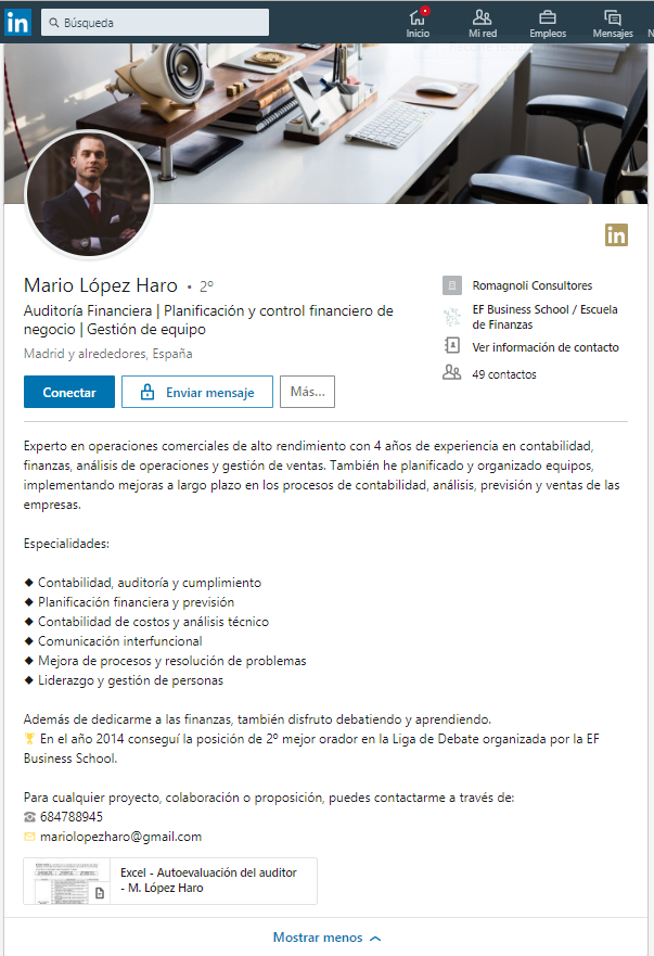 Extracto Profesional Linkedin Auditor