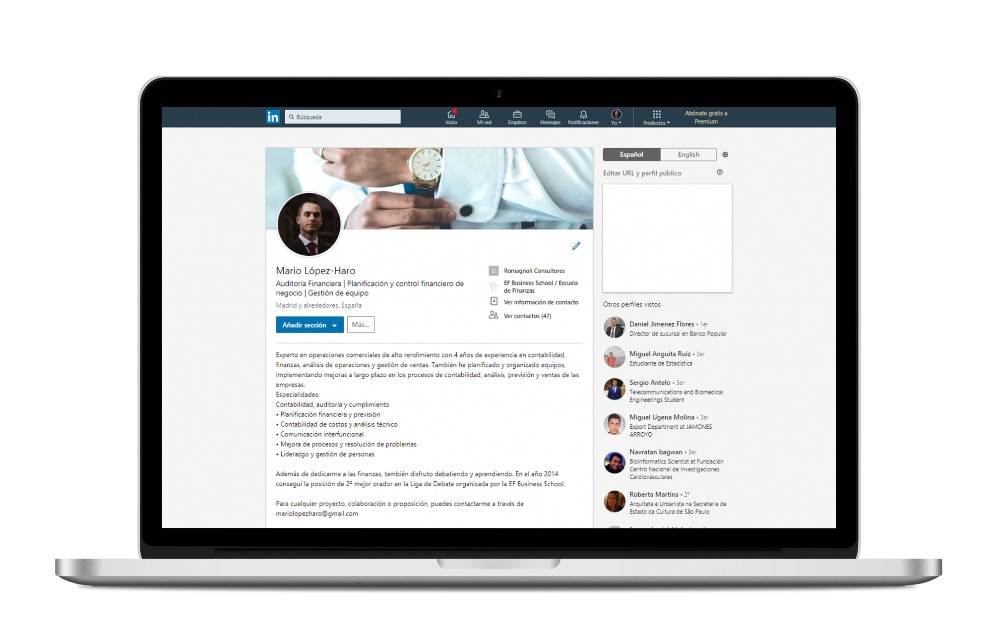 Perfil de LinkedIn Auditor Financiero1.1