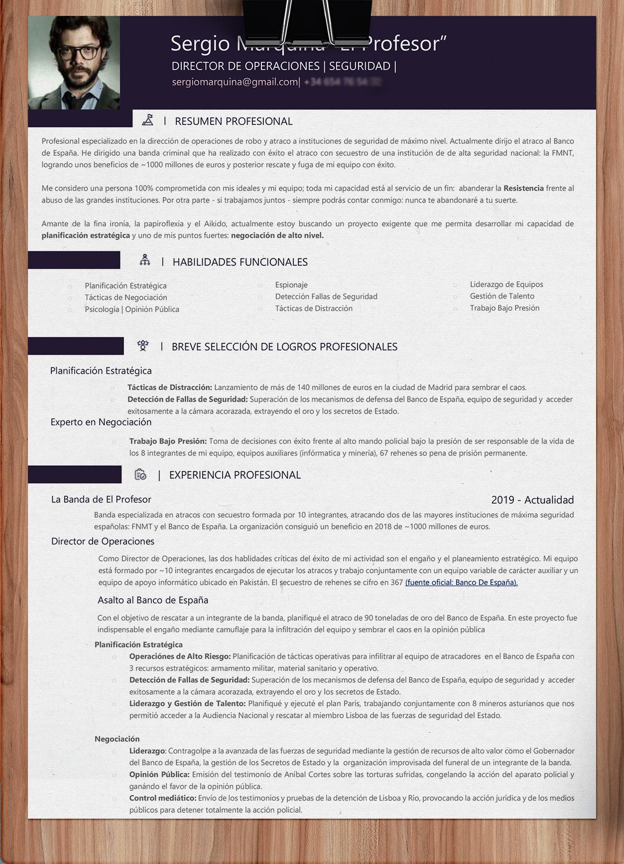 CV EL PROFESOR La Casa de Papel