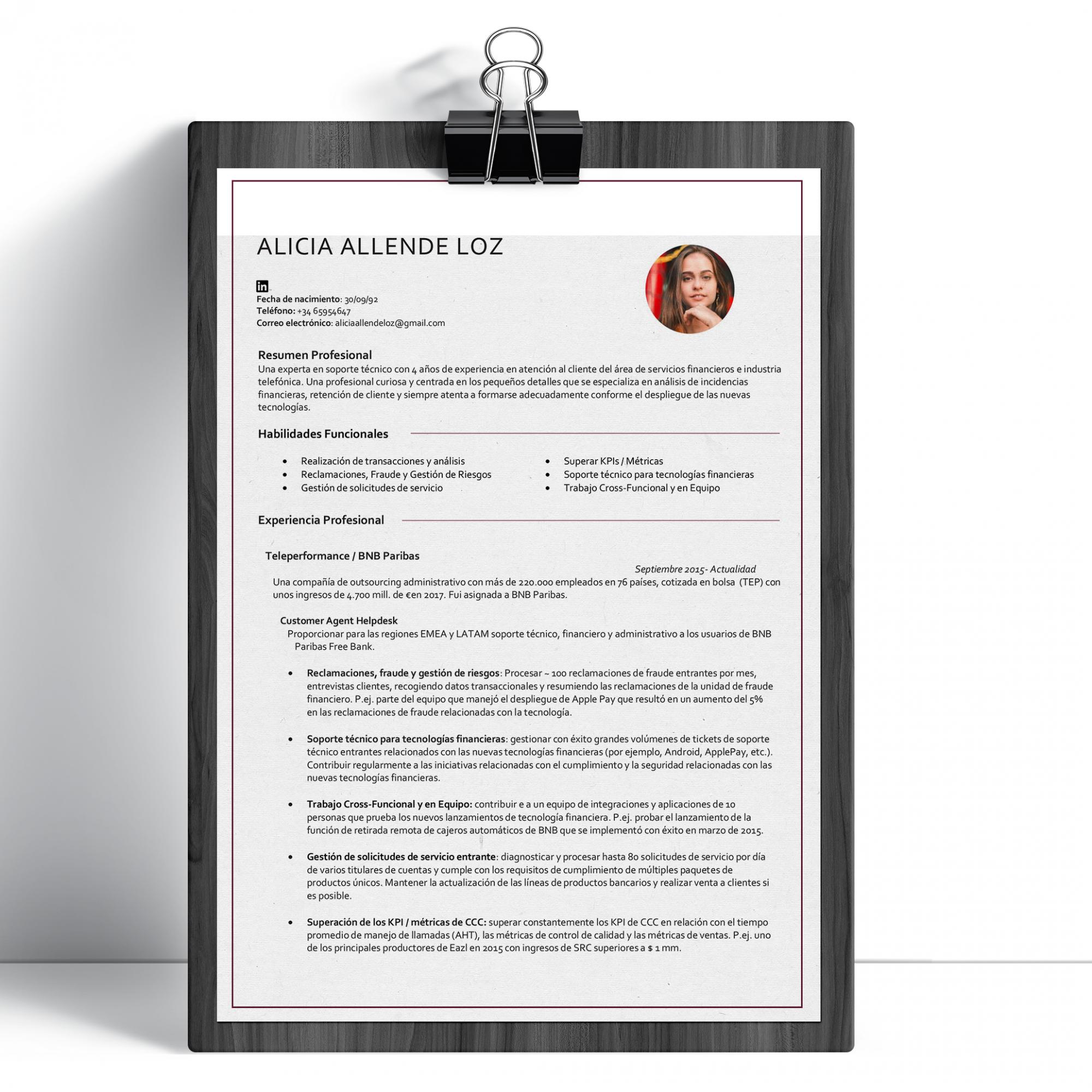 CV Customer Service Nuevo Alicia